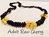 17 AND 12.5 Inch Baltic Amber Teething Necklaces for (Baby & Toddler) PLUS one for mom! adult - Raw Unpolished Cherry with Lemon & Cognac Flower Flowers Yellow Brown Cherry Cognac Anti-inflammatory, Drooling & Teething Pain Reduce Properties - Growing Pains. Inflammation anti-inflammatory swelling sciatica, arthritis, carpal tunnel, back aches, headaches, Perfect Mother's Day Gift!! Certificated Natural Oval Baltic Jewelry with the Highest Quality Guaranteed. Easy to Fastens with a Twist-in Screw Clasp Mothers Approved Remedies! 12.5 & 17 inches, Helps some with colic & eczema.