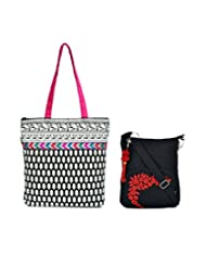 Combo Of Black And White Printed Tote With Multi Coloured Lace With Black Small Sling Bag