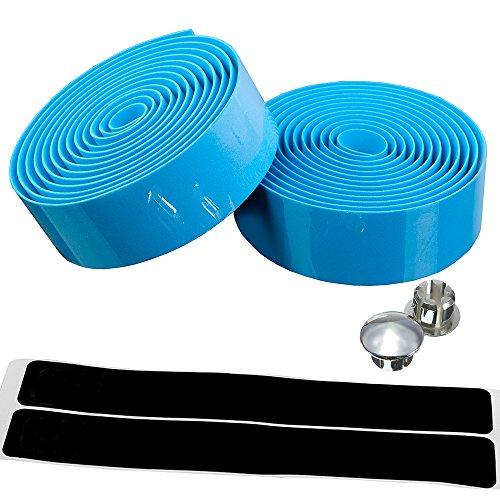 AmazingEC [Cork Bar Tape] Wrap Road Racing Bike Handlebar Ribbon with End Plugs Light Blue