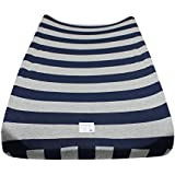 Burt's Bees Baby Bold Stripe Organic Changing Pad Cover, Blueberry