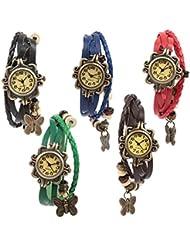 Felizer Vintage Multi Strap Analog Fancy Hanging Butterfly Bracelet Watch For Women & Girls (Black, Blue, Red,...