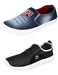 Cifano Men Combo Pack Of 2 Pair Canvas Casual Shoes Loafer & Moccasion