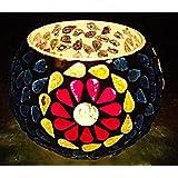 Rajasthani Traditional Mosaic Glass Tea Light Votive Candle Holder 3 Inch