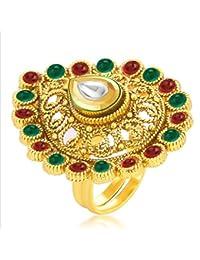 Sukkhi Bewitching Designer Traditional Cocktail Kempu Stone Gold Plated Kundan Finger Ring For Women