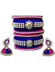 Mohana Silk Thread Jewellery Pink And Blue Silk Thread Bangles (133) (2.6)