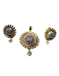 Poddar Jewels Cubic Zirconia Red Round Pendant Set