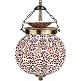EarthenMetal Handcrafted Pumpkin Shaped Mosaic Design Red & Brown Coloured Glass Hanging Light