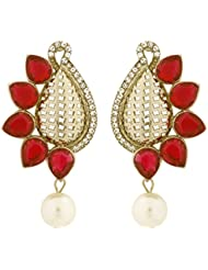 The Jewelbox Designer Paisley Antique Rhodium Plated Red Earring For Women