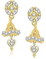 VK Jewels Classic Gold And Rhodium Plated Jhumki For Women -ER1204G [VKER1204G]