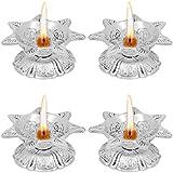 Jaipuri Haat Metal 7 Flower Diwali Diya Oil Lamp For Puja Home Décor (Set Of 4)