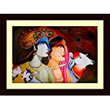 Tamatina Framed Canvas Painting - Radha Krishna- Modern Art Paintings- Wooden Texture Frame - Size 15 Inch X 11...