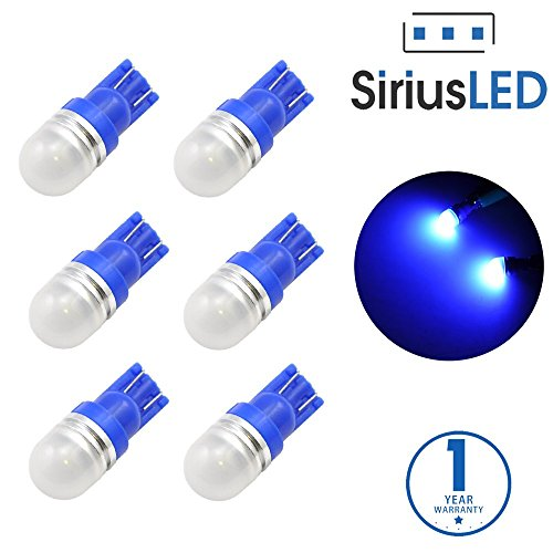 SiriusLED Super Bright 1W 360 Degree Projector LED Bulbs for Interior Car Lights Gauge Instrument Panel License Plate Dome Map Side Marker Courtesy T10 168 194 2825 W5W Blue Pack of 6