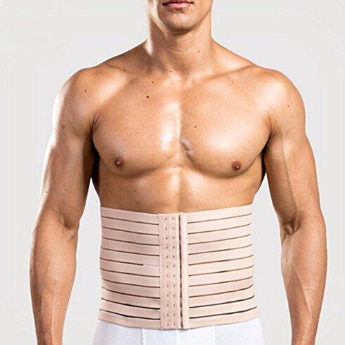 Importikah Mens 3 Hooks Instant Tummy Tuck Slim Waist Belt Shaper Cincher Trimmer Bodyshape (XXL, White/Beige/...