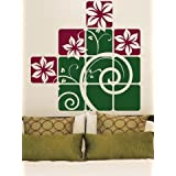 WALLMANTRA Flowers & Vine Collage Wall Decal Wall Sticker (Size: 30x30 Inches)