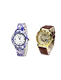 COSMIC COMBO WATCH- COLORFUL STRAP ANALOG WATCH FOR WOMEN AND BROWN ANALOG SKELETON WATCH FOR MEN - B01CJDS00M