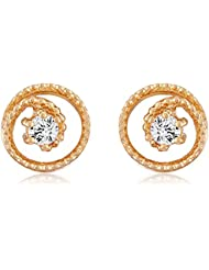 Mahi With Swarovski Zirconia Solitaire Round Spiral Gold Plated Stud Earring For Women ER1105043G