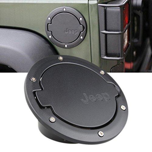Black Fuel Filler Door Cover Gas Tank Cap 4-Door 2-Door for 2007-2016 Jeep Wrangler JK & Unlimited