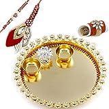 Charming Gold Base Rakhi Pooja Thali With Set Of Bhaiya Bhabhi Rakhis