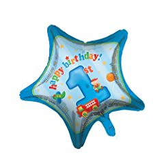 Creative Converting Fun at One Happy First Birthday Boy Star Shaped Metallic Balloon