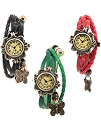 Felizer Round Dial Vintage Dangling Butterfly Analog Watch For Women & Girls (Black, Green & Red )- (Pack Of 3)