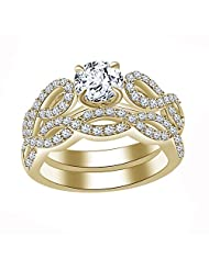 AT Jewels 14K Yellow Gold Over 925 Sterling White CZ Bridal Ring Set For Free Sizing