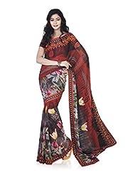 Aadarshini Women's Chiffon Saree (4093, Red)