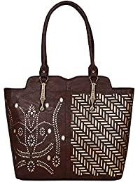 Women's PU Leather Handbags High Grade New Fashion Female Tote Bag Party Clutch Bag - Brown