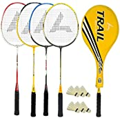 Guru Trail BR06 COMBO-05 Badminton Racket Set Pack Of Four With Four Cover & 6 Shuttlecock Size: 27 Inch