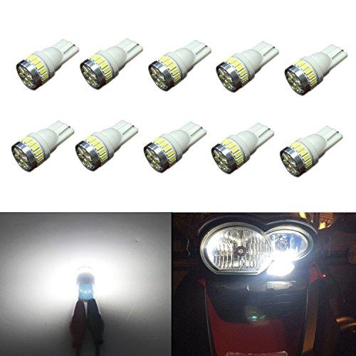 JDM ASTAR 10pcs Super Bright 360-Degree Shine 194 168 175 2825 T10 24-EX Chipsets LED Bulbs,Xenon White (Best Value on the market)