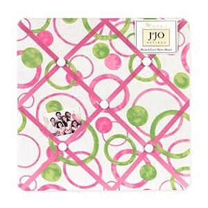 Circles Pink and Green Fabric Memory/Memo Photo Bulletin Board
