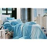 Bianca Chantal Cotton Double Bedsheet With 2 Pillow Covers - Cornflower Blue