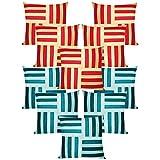 Cross Patti Cushion Covers Combo Blue,Sky Blue/Beige,Red 40 X 40 Cms(10 Pcs Set)