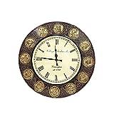 Shivay Arts Handcrafted Beautiful Wooden & Brass Horoscope Wall Clock / Wall Decor / Wall Hanging