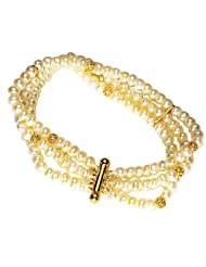Surat Diamonds 3 Line Real Freshwater Pearl & Gold Plated Beads Bracelet For Women (SB1)