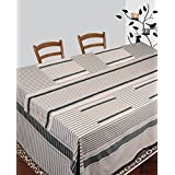Dhrohar Hand Woven Off White & Green Cotton Table Cover, Runner And Mat Set For 8 Seater Table - Set Of 10