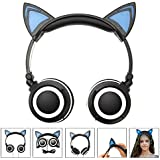 Fashional Cat Ear Headphones, IPRO Cat Earphone-LED Glowing Cat Ear Head Phone-Cute Headphone For Computer,Tablet,Phone,MP3,MP4,etc-Black