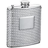 "Visol ""Brylee"" Bling Stainless Steel Hip Flask, 6-Ounce, White"