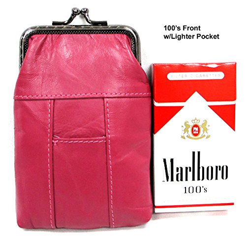 2pcTwo Color Set Women's Genuine Soft Leather Cigarette Case Pouch w/ Lighter Pocket Fit 100's HOT PINK + RED 2pc for $10.99