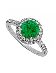 Emerald And Cubic Zirconia Double Halo Engagement Ring In 925 Sterling Silver Great Price