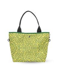 Atrangee Whirly Wide Tote Bag (Yellow, Green)