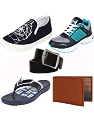 Earton COMBO Pack Of 5 Men/Boys Loafers & Moccasins With Sports Shoes,Slipper Belt & Wallet