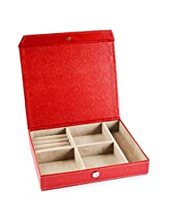 "Ecoleatherette Handcrafted Eco Friendly Vanity Box, Jewellery Box, Jewellary Box Size 8""x10"" (Red Colour)"