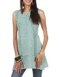 Rajrang Cotton Green Screen Printed Tunic Top Size: S