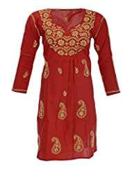 Aashvi's Women's Cotton Round Neck Kurti (ASH/K/43/DCE/08/006, Red And Green, X-Large)