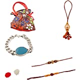 Combo Of Exclusive Handmade Rakhi With Brown Color Multi Print Design Clutch And Salman Khan Bracelette For Bhai And Bhabhi.,Unique Rakhi Set For Brother With Rakhi Gift Roli Chawal Rakshabandhan Special,Rakhi For Brother,Rakhi For Brother With Gift Combo