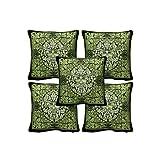 Rajrang Black, Green Cotton Printed Cushion Cover Set Of 5 Pcs #Ccs05896