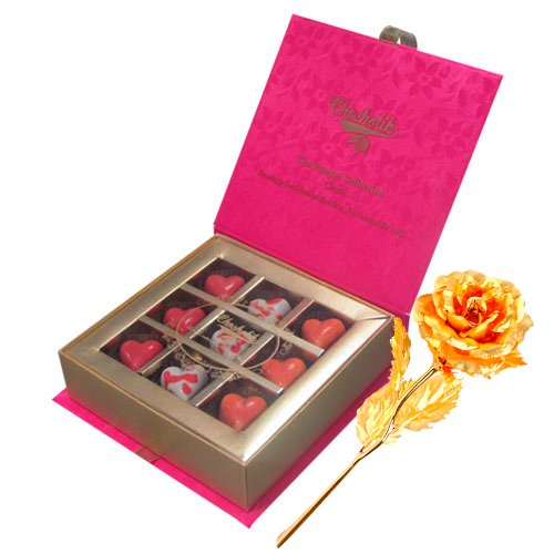 Stay It With Chocolate Box With 24k Gold Plated Rose - Chocholik Belgium Chocolates