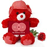 TiedRibbons® Valentine Gifts For Girlfriend Teddy Bear With Valentine's Special Greeting Card And Red Rose