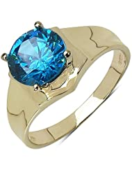Suraabi 3.60CTW Blue Cubic Zirconia 14K Yellow Gold Plated Brass Ring For Women
