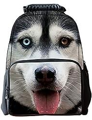 AUBIG Boys Girls 3D Animals Print Daypack Backpack School Bag Multicolor - White Husky